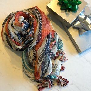 EUC-Lucky Brand Silk Boho Printed Scarf w/ tassels